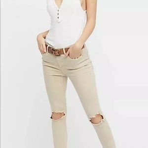 Free People 29R High Waisted Busted Knee Jeans
